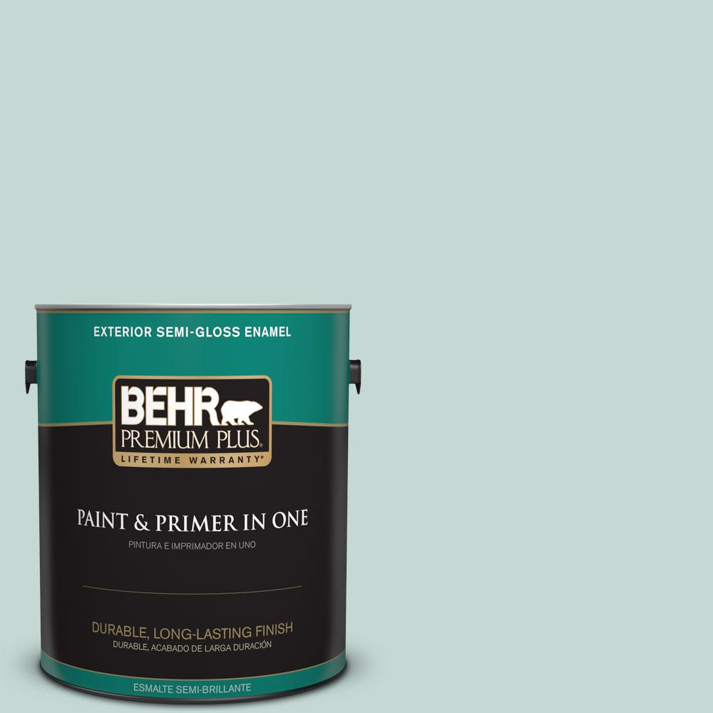 BEHR Premium Plus 1-gal. #480E-2 Tide Pools Semi-Gloss Enamel Exterior Paint