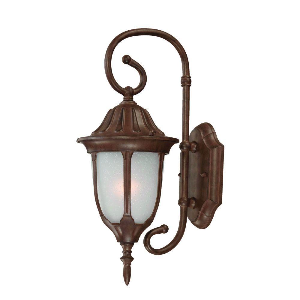 Suffolk Collection 1-Light Burled Walnut Outdoor Wall-Mount Light Fixture