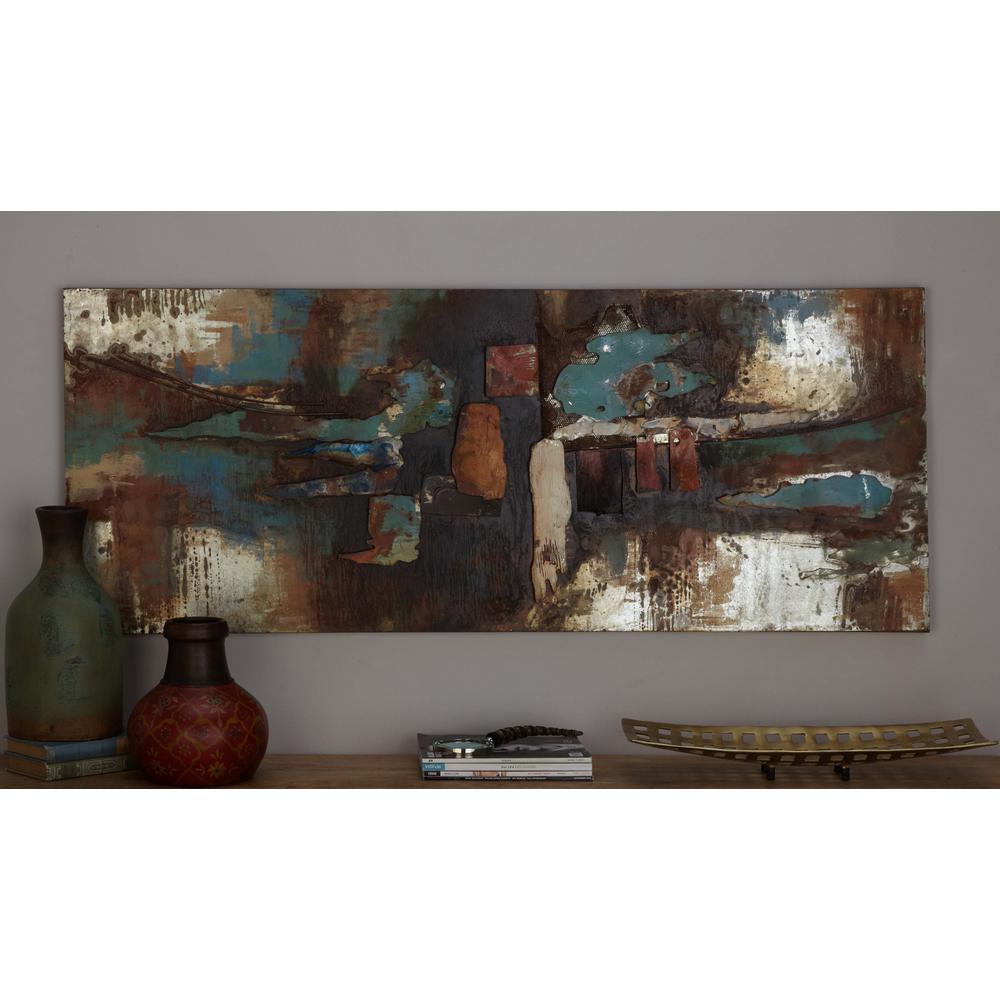 Litton Lane 24 in. x 59 in. Rustic Contemporary Iron Colorfield
