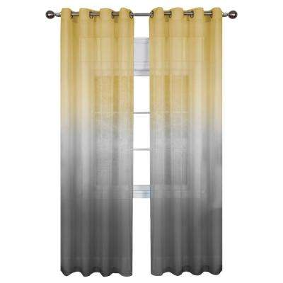 Sheer Rainbow 84 in. L Single Grommet Window Curtain Panel Grey