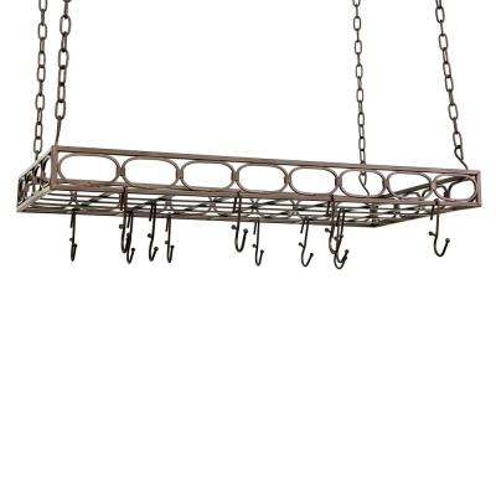 Bronze Rectangular Pot Rack with 16-Hooks