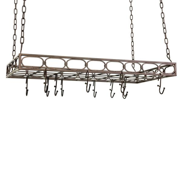 Bronze Rectangular Pot Rack with 16-Hooks