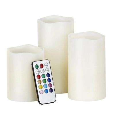 Luma Candles Color-Changing Flameless Vanilla-Scented Pillar Candles (Set of 3)