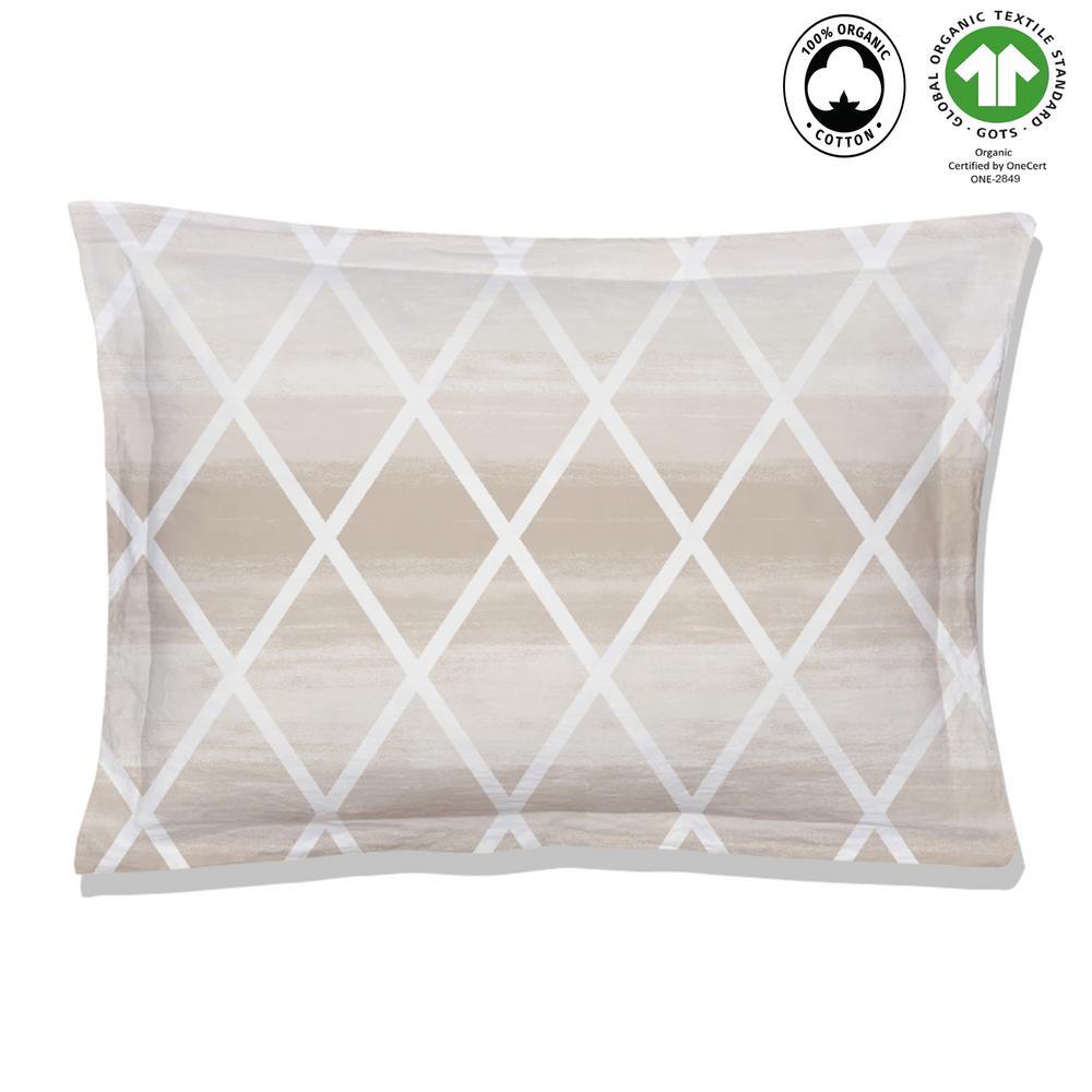 Geomania Reversible Print Beige 100% Organic Cotton Queen Sham (Set of 2)