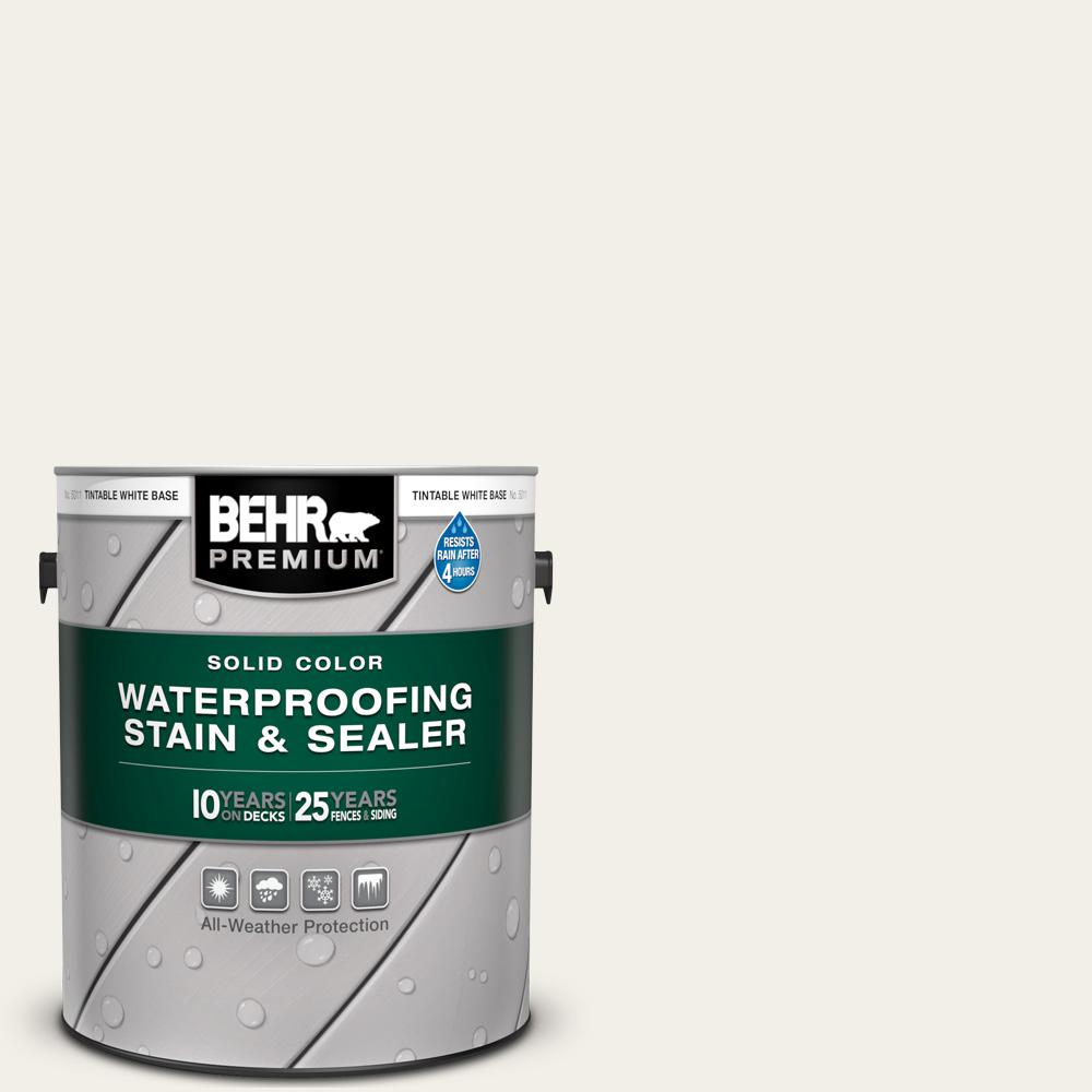 BEHR PREMIUM 1 gal. #SC-337 Pinto White Solid Color Waterproofing Exterior Wood Stain and Sealer