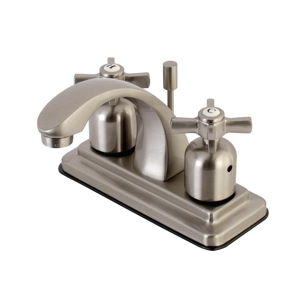 Kingston Brass Cross 4 in. Centerset 2-Handle Bathroom Faucet in Brushed Nickel