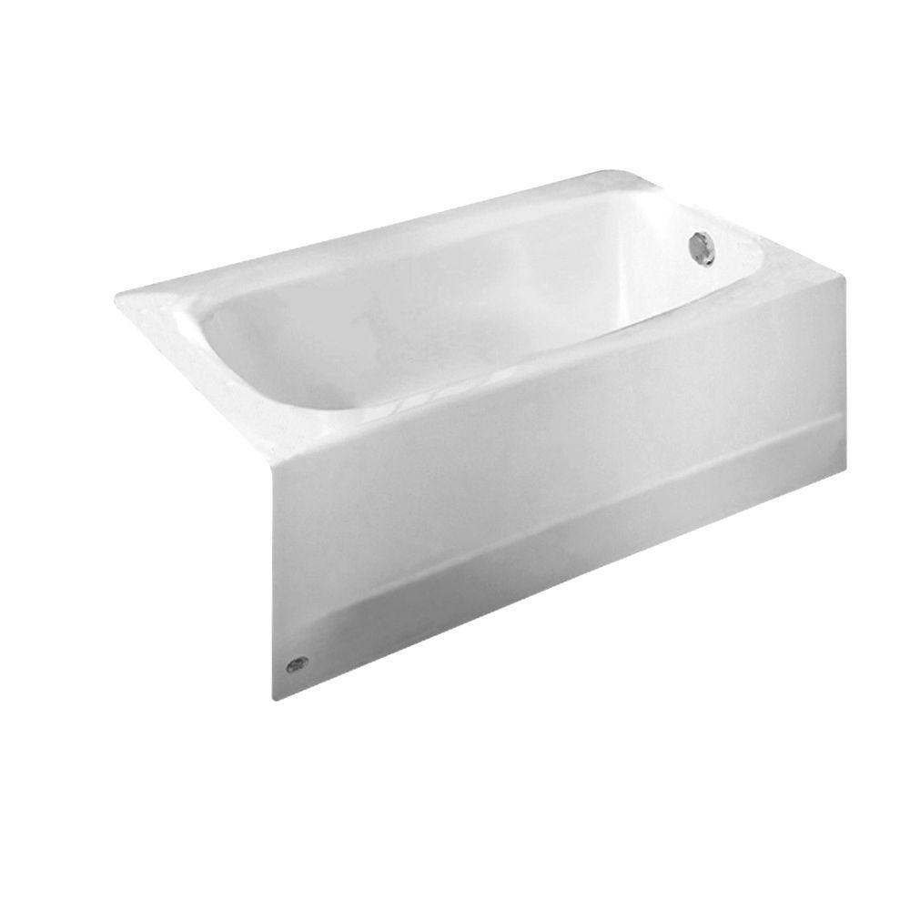 Cambridge 60 in. Right Drain Rectangular Alcove Non-Whirlpool Soaking Bathtub in Arctic White