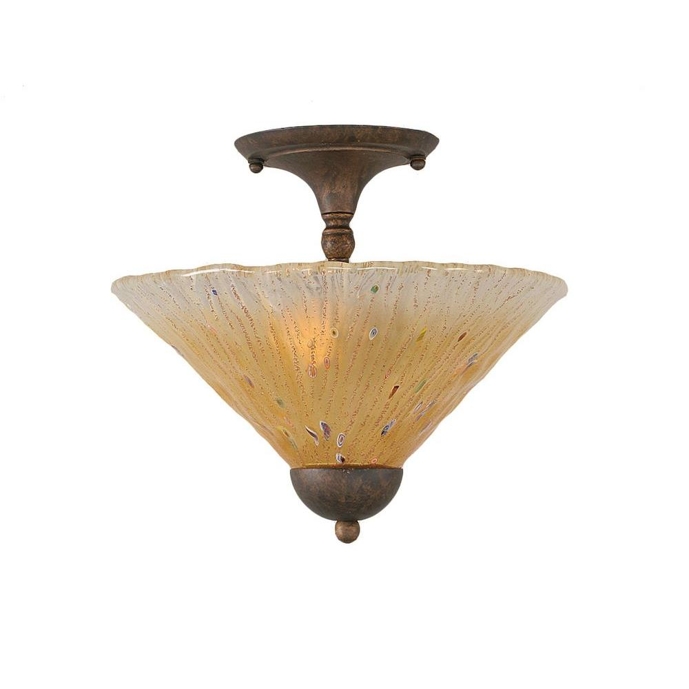 Almeida 2-Light Bronze Semi-Flush Mount Light with Amber Crystal Glass