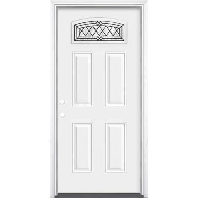 36 in. x 80 in. Halifax Camber Fan Lite Right-Hand Inswing Primed Steel Prehung Front Exterior Door with Brickmold