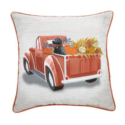 18 in. Harvest Truck and Dog Square Decorative Harvest Pillow