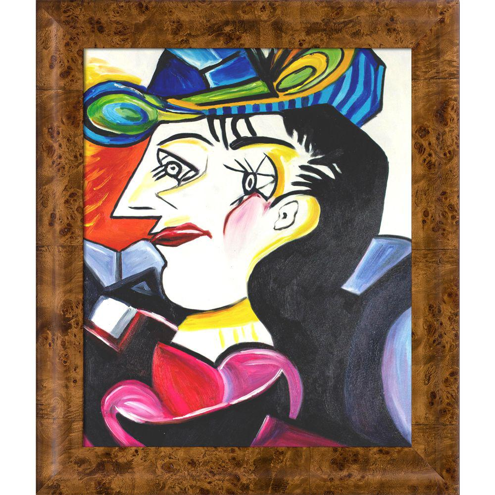 ArtistBe Picasso by Nora, Man With Blue Hat with Havana Burl Frameby Nora Shepley Canvas Print, Multi-color was $871.01 now $423.56 (51.0% off)