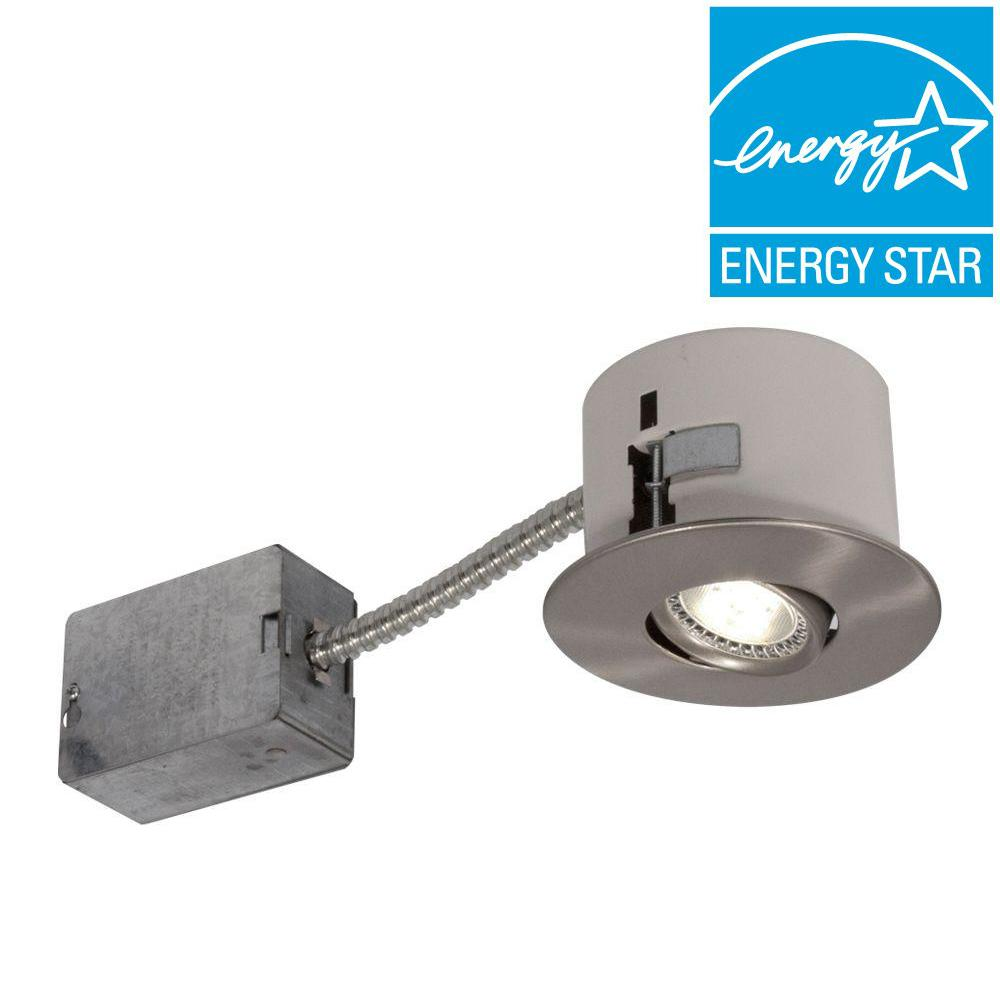 BAZZ 2.5 in. Brushed Chrome LED Recessed Lighting Fixture with Designed for Ceiling Clearance
