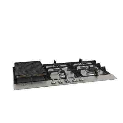 34 in. Gas Cooktop in Stainless Steel with 5 Burners including Cast Iron Griddle