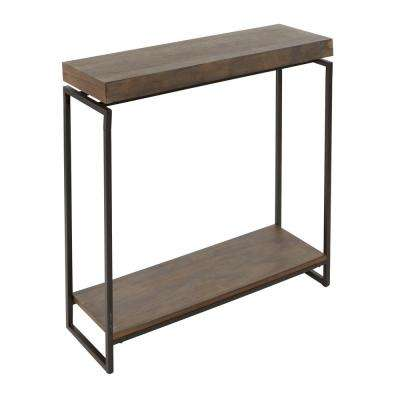 Bronson Gunmetal Gray and Wood Floating Top Slim Console Table