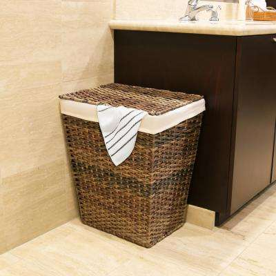 Handwoven Lidded Laundry Hamper with Canvas Liner