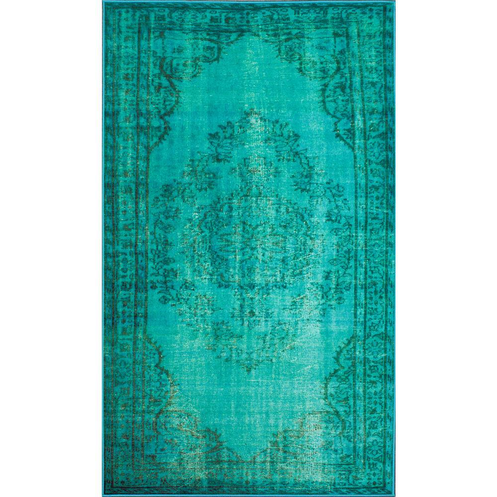 Nuloom Vintage Inspired Overdyed Turquoise 4 Ft X 6 Area Rug