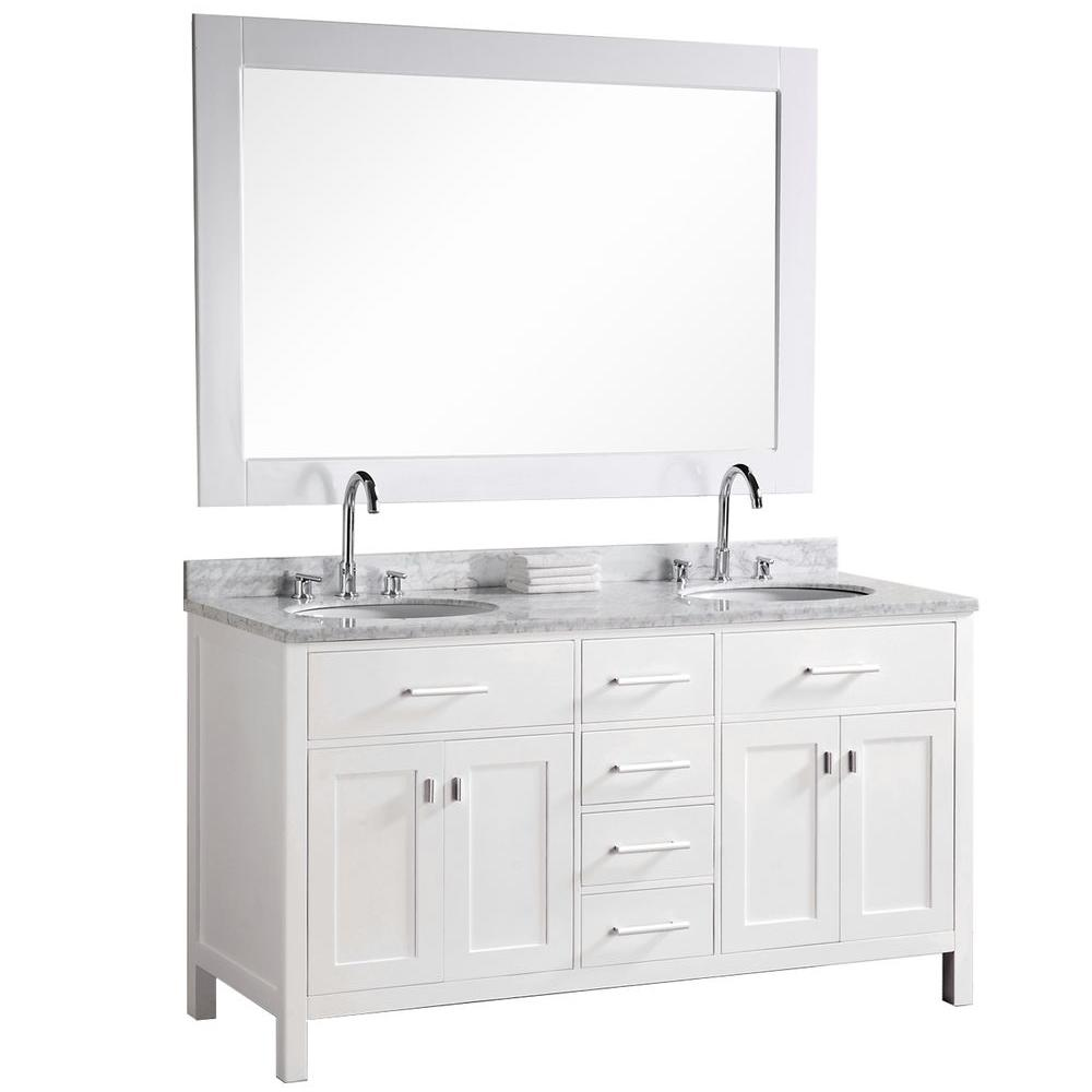 Design Element London 61 in. W x 22 in. D Vanity in Pearl White with Marble Vanity Top and Mirror in Carrera White