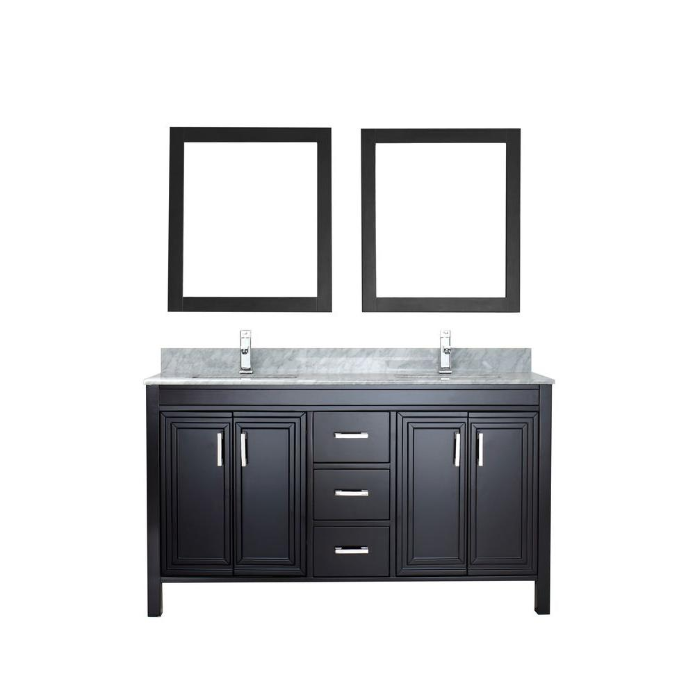 ART BATHE Dawlish 60 in. Vanity in Espresso with Marble Vanity Top in Carrara White and Mirror