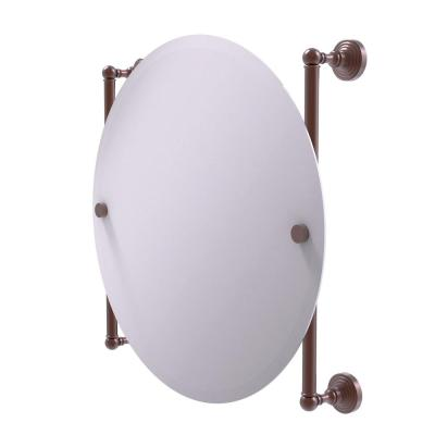Waverly Place Collection Round Frameless Rail Mounted Mirror in Antique Copper