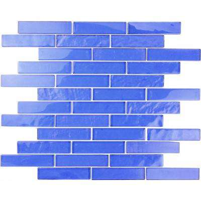 Landscape Mediterranean Blue Linear Mosaic 1 in. x 4 in. Textured Glass Wall Pool and Floor Tile (1.04 Sq. ft.)
