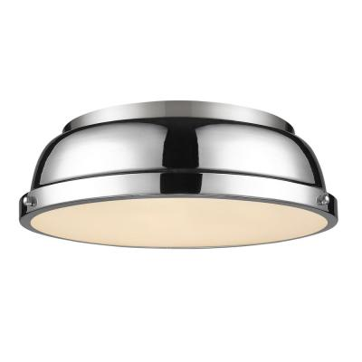 Duncan 14 in. Flush Mount in Pewter with a Chrome Shade