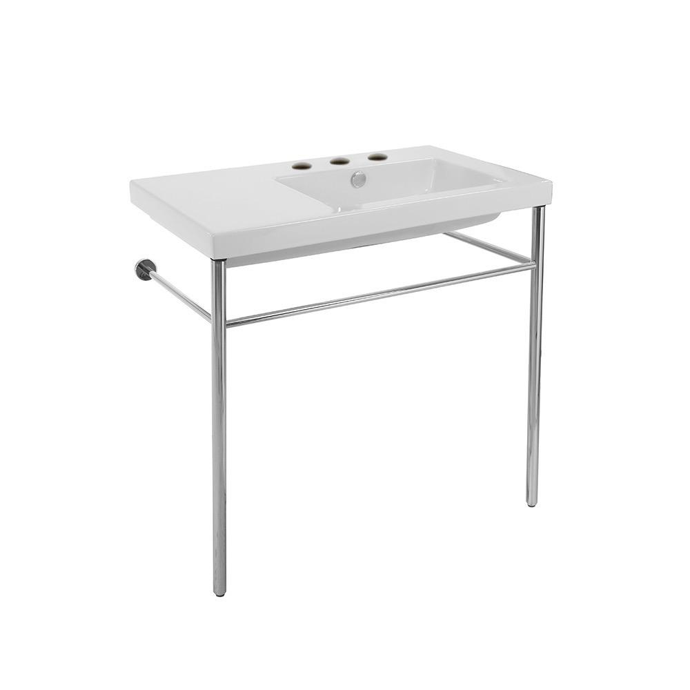 Nameeks Condal Ceramic Console Bathroom Sink in White with 3 Faucet Holes and Chrome Stand