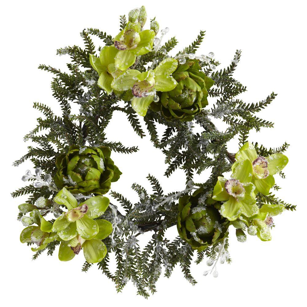 Nearly Natural 22 in. Iced Cymbidium and Artichoke Wreath
