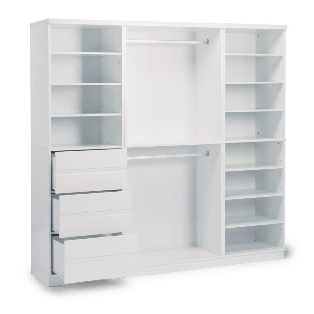 Linear 3-Drawer White Storage Wall Unit (3-Piece)