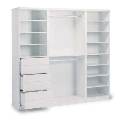 Linear 3-Drawer White Storage Wall Unit (3-Piece)