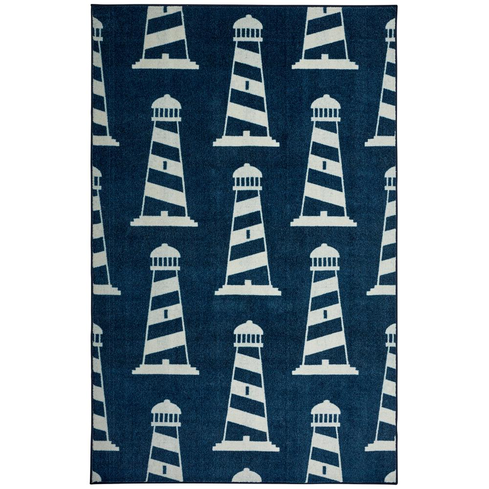 Mohawk Home Seaside Lighthouse Navy 8 Ft X 10 Ft Indoor Area Rug 047748 The Home Depot