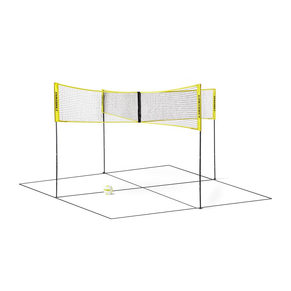 4 Square Volleyball Net And Game Set With Carrying Backpack And Ball Crossnet101 The Home Depot