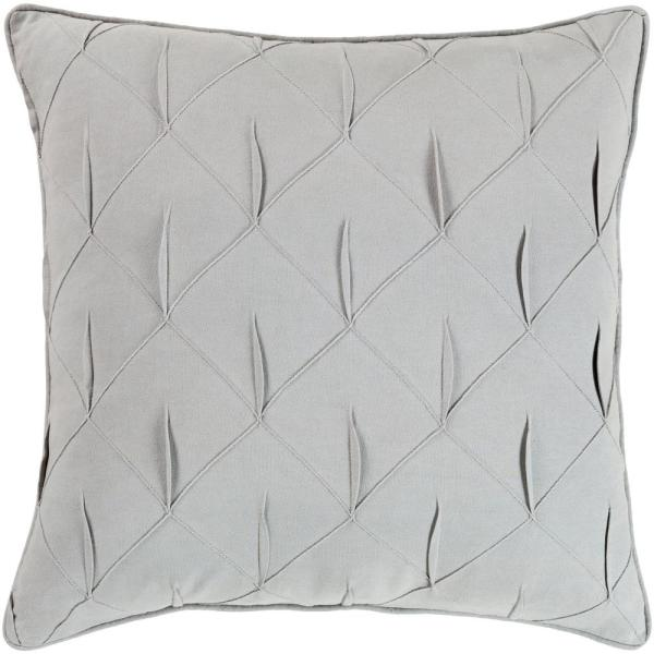 Hansel Gray Solid Textured Down 22 in. x 22 in. Throw Pillow
