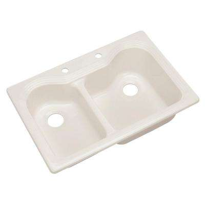 Breckenridge Drop-In Acrylic 33 in. 2-Hole Double Bowl Kitchen Sink in Biscuit