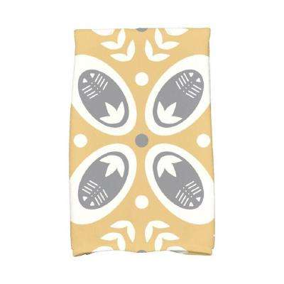 16 in. x 25 in. Gold Tradition Holiday Geometric Print Kitchen Towel