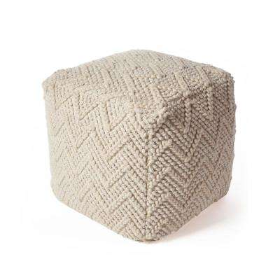 Ivory Chevron Cable 18 in. x 18 in. Accent Pouf