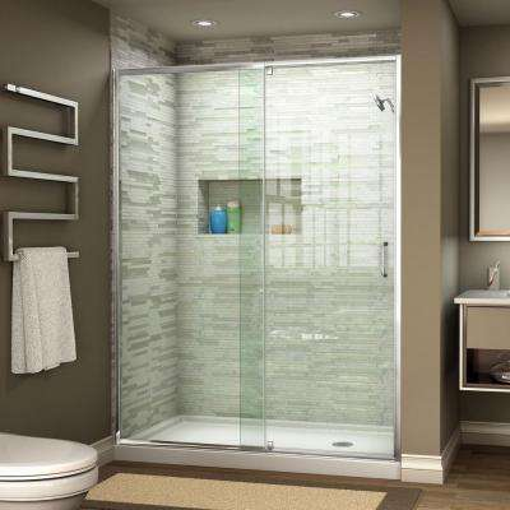 Flex 56 in. to 60 in. x 72 in. Framed Pivot Shower Door in Chrome