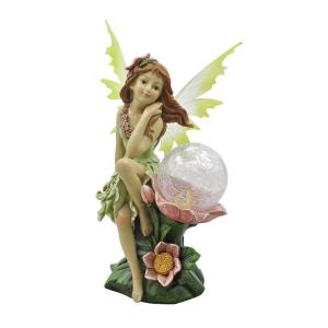 enjoyable home depot garden statues. Naomi Garden Pixie Statue with Solar Powered Color Changing LED Moonrays Integrated Round Log Gnome House