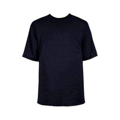 Men's Extra Large Regular Navy Cotton and Polyester Heavy-Weight Pocket T-Shirt