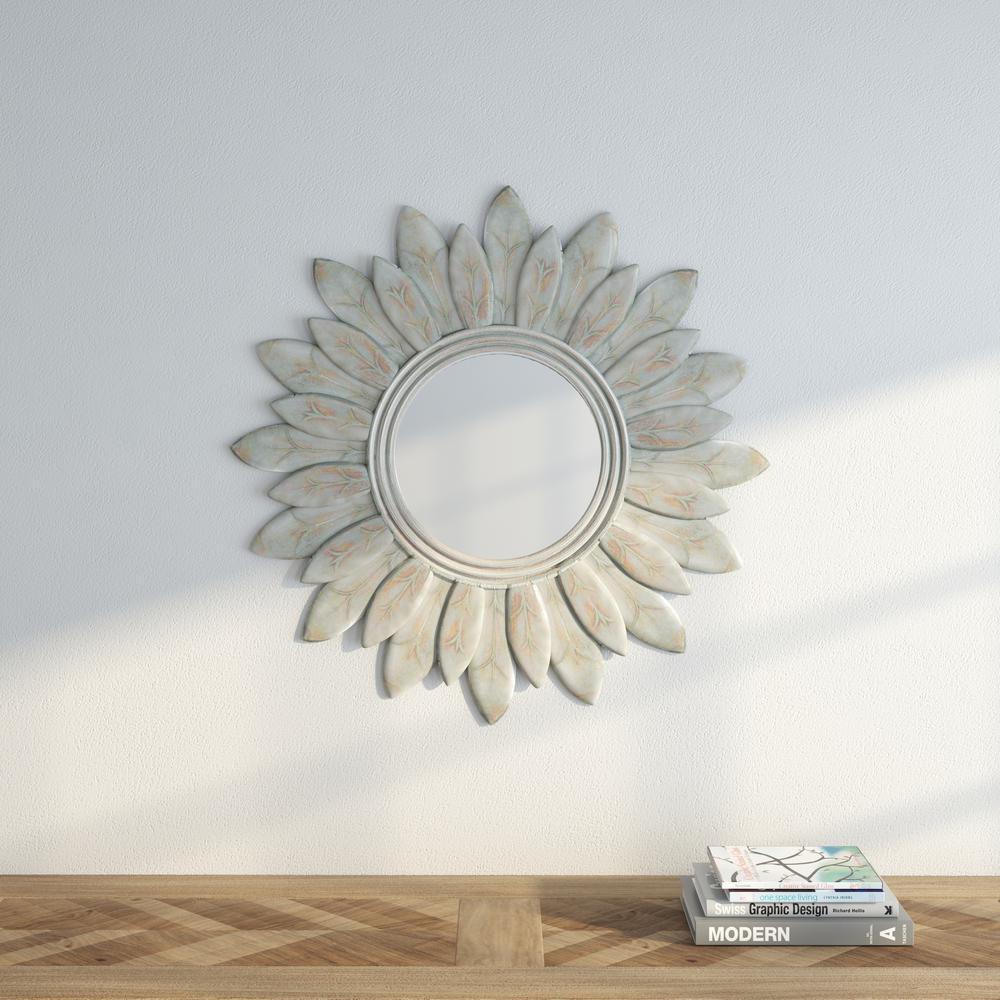 Sun King 30 in. H x 30 in. W Round Framed Mirror