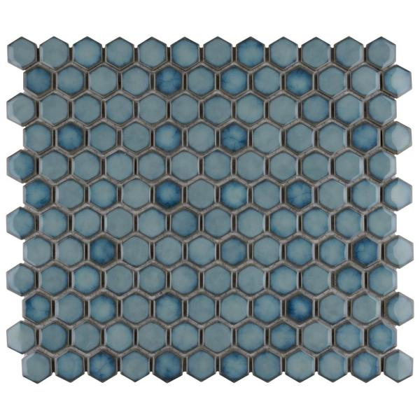Hudson Hex 1 in. Marine 13-1/4 in. x 11-7/8 in. Porcelain Mosaic Tile (11.14 sq. ft./Case)