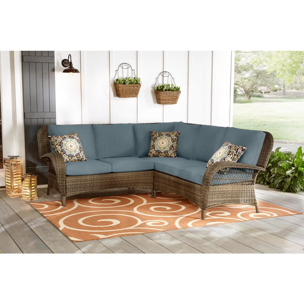 Beacon Park 3-Piece Brown Wicker Outdoor Patio Sectional Sofa with Sunbrella Denim Blue Cushions