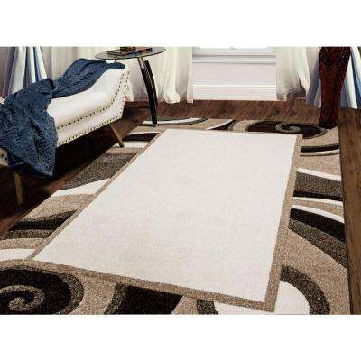 Bazaar Wavy Border Cream/Brown 5 ft. x 7 ft. Indoor Area Rug