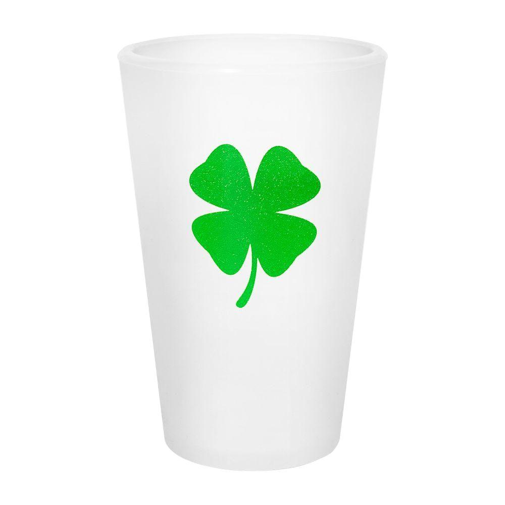 Silipint 16 oz. Silicone Pint Cup in Frosted White with Shamrock-DISCONTINUED
