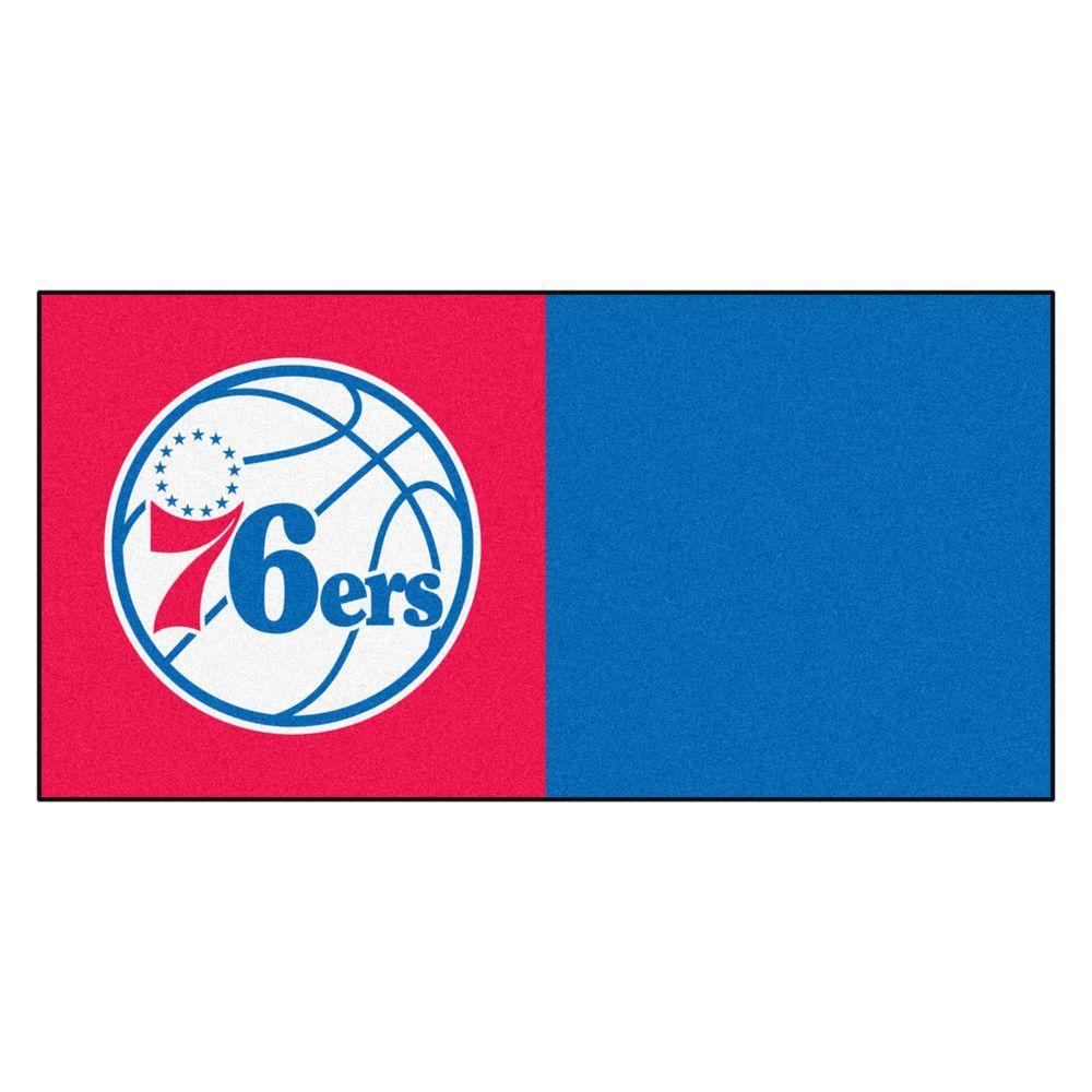 NBA Philadelphia 76ers Red and Blue Pattern 18 in. x 18 in. Carpet Tile (20 Tiles/Case)