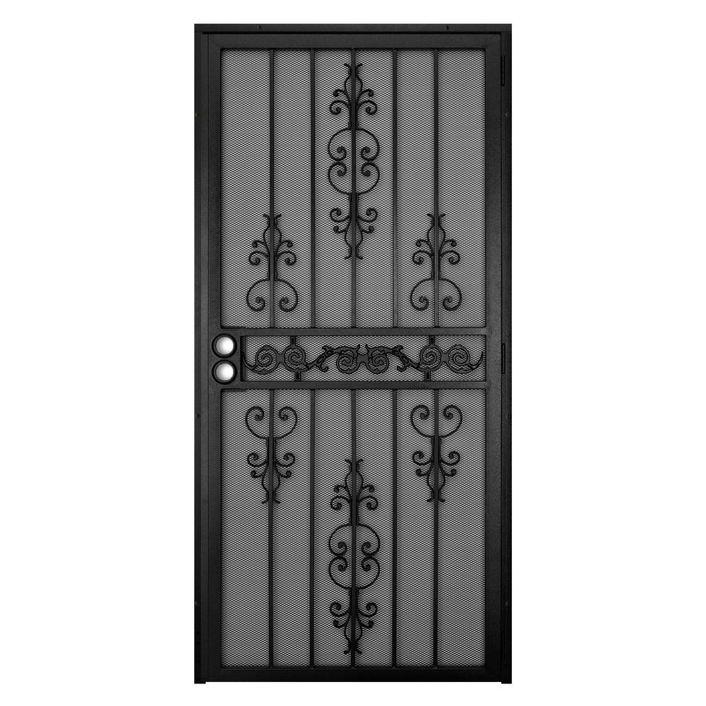 Unique Home Designs 36 In X 80 In El Dorado Black Surface Mount Outswing Steel Security Door With Heavy Duty Expanded Metal Screen