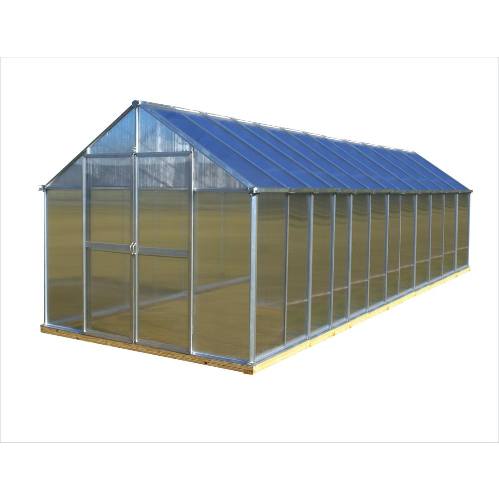 Monticello 8 ft. x 24 ft. Aluminum Finish Greenhouse