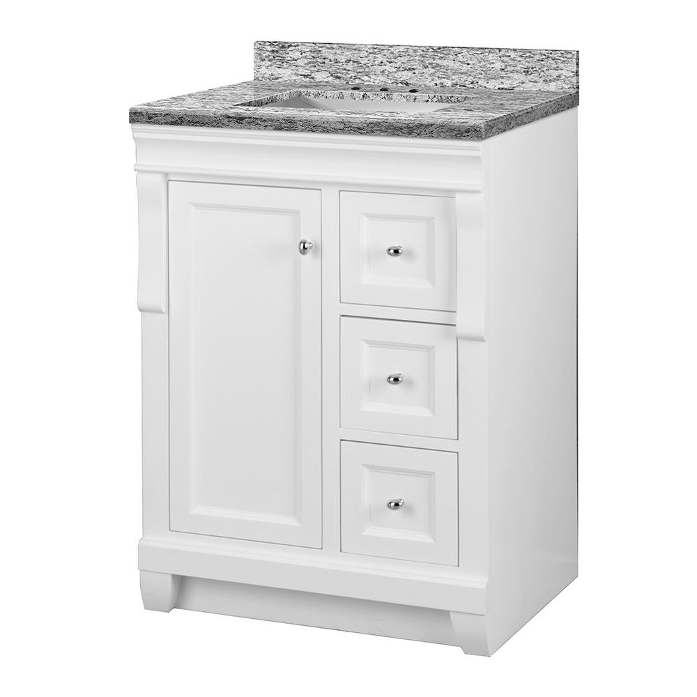 Home Decorators Collection Naples 25 in. W x 22 in. D Vanity in White with Granite Vanity Top in Santa Cecilia with White Sink
