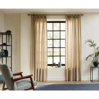 63 in. Curtain Rod Kit in Smoke with Rolled Steel Cap and Wood Saxy Finials with Ceiling Brackets and Rings