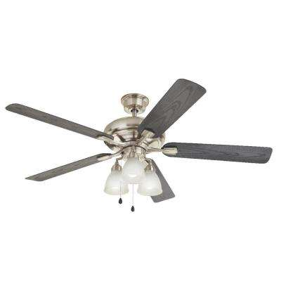 Trentino II 60 in. Indoor/Outdoor Brushed Nickel Ceiling Fan with Light Kit