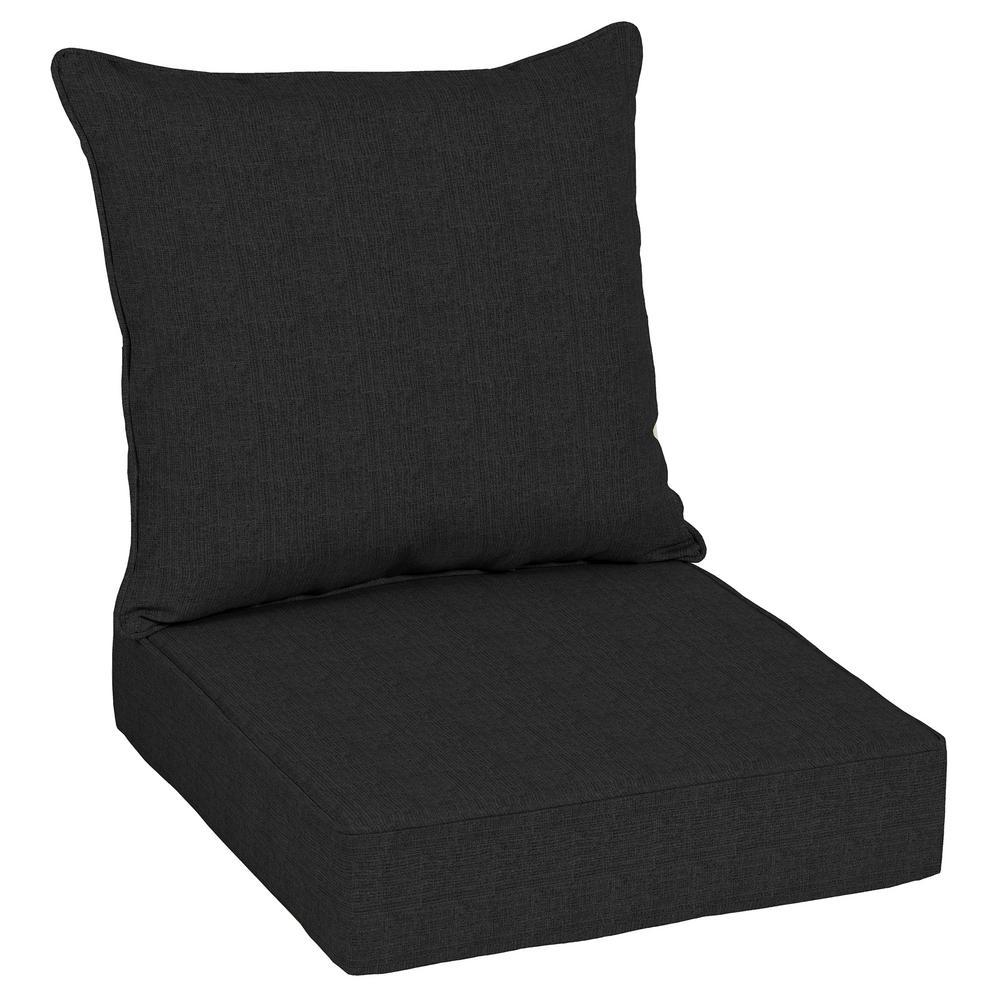 Oak Cliff 24 x 24 Sunbrella Canvas Black Deep Seating Outdoor Lounge Chair Cushion
